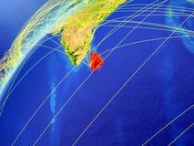 Sri Lanka auf Modell von Planet Erde mit internationalen Netzwerken Konzept der digitalen Kommunikation und der Technologie Abbil stock abbildung