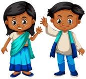 Sri Lanka boy and girl in traditional costume. Illustration Stock Image