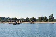 1977 Sri Lanka Cais de Mutur, na baía de Koddiyar Imagem de Stock