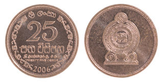 Sri Lanka 25 cent mynt Royaltyfri Bild