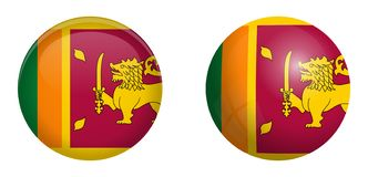 Sri Lanka Ceylon flag under 3d dome button and on glossy sphere / ball.  royalty free illustration