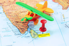 Sri Lanka Ceylon  map airport Royalty Free Stock Image