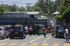 Sri Lanka-Chaos bij Spoorwegovergang Royalty-vrije Stock Afbeeldingen