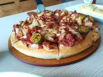 Sri lanka chicken pan pizza. Sri lanka very testy chicken pan pizza for pizza hut stock image