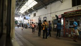 Sri Lanka, Colombo, February 2017, Colombo railway station. Sri Lanka, Colombo, February 2017, train departs from Colombo railway station stock footage
