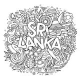 Sri Lanka country hand lettering and doodles Royalty Free Stock Photos