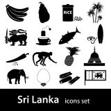 Sri-lanka country symbols black icons set Royalty Free Stock Images