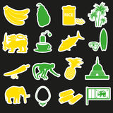 Sri-lanka country symbols color stickers set eps10 Royalty Free Stock Photo