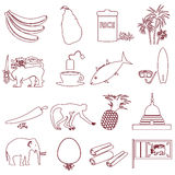 Sri-lanka country symbols outline icons set eps10 Stock Images