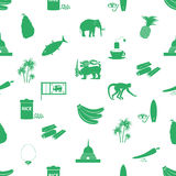 Sri-lanka country symbols seamless green pattern Stock Photos