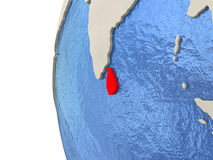 Sri Lanka on 3D globe. Map of Sri Lanka on globe with watery blue oceans and landmass with visible country borders. 3D illustration Royalty Free Stock Photo