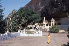 1977 Sri Lanka De ingangen aan de Dambulla-holen Royalty-vrije Stock Foto's