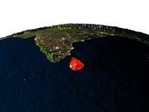 Sri Lanka de l'espace la nuit Photographie stock