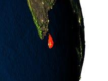 Sri Lanka de l'espace pendant le crépuscule Images libres de droits