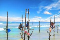 SRI LANKA - 24 DE MARÇO: Pesca tradicional - pescadores em uma vara em Sri Lanka o 24 de março de 2017 em Sri Lanka Imagens de Stock Royalty Free