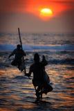 Sri Lanka: De vissers van de stelt Royalty-vrije Stock Afbeeldingen