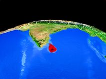 Sri Lanka del espacio en la tierra ilustración del vector