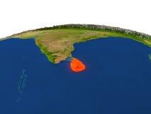 Sri Lanka en rojo de la órbita ilustración del vector
