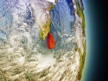 Sri Lanka en rouge de l'espace Images libres de droits