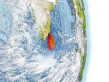 Sri Lanka en rouge sur terre Photographie stock libre de droits