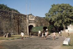 "1977. Sri Lanka. The entrance gate to ""Fort Frederick"". Stock Photo"