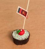 Sri lanka flag on a apple cupcake Royalty Free Stock Photography