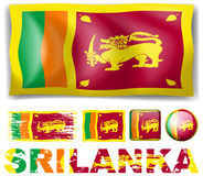 Sri Lanka flag in different designs Royalty Free Stock Image