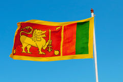 Sri Lanka flag on flagstaff. Royalty Free Stock Photography