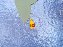 Sri Lanka with flag on globe Royalty Free Stock Images