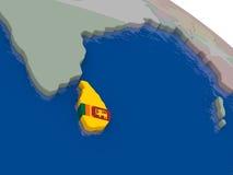 Sri Lanka with flag Stock Photo