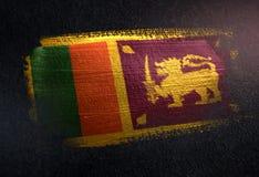 Sri Lanka Flag Made of Metallic Brush Paint on Grunge Dark Wall.  stock photos