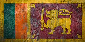 Sri Lanka Flag painted on a Wall. Ddistressed Painting of a Flag on an old Wall Royalty Free Stock Photography