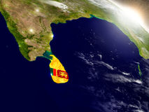 Sri Lanka with flag in rising sun Stock Image