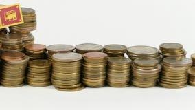 Sri Lanka flag with stack of money coins. Sri Lanka flag waving with stack of money coins stock video
