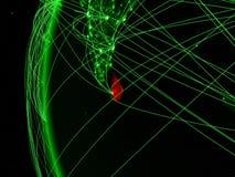 Sri Lanka från utrymme på grön modell av jord med internationella nätverk Begrepp av den gröna kommunikationen eller loppet 3d stock illustrationer