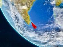 Sri Lanka från utrymme på jord stock illustrationer