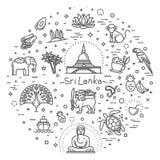 Sri Lanka-geplaatste vakantiepictogrammen Vector pictogrammen stock illustratie