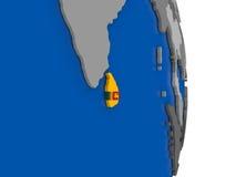 Sri Lanka on globe with flag Royalty Free Stock Photo