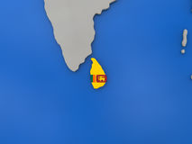 Sri Lanka on globe. Map of Sri Lanka with embedded national flag on globe, top-down view. 3D illustration Stock Photo
