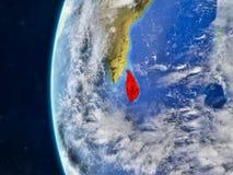 Sri Lanka on globe from space stock illustration