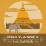 Sri Lanka gränsmärken Retro utformad bild vektor illustrationer