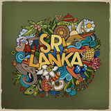 Sri Lanka hand lettering and doodles elements Royalty Free Stock Photography
