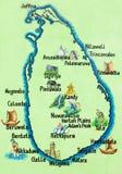 Sri Lanka, Hikkaduwa - gemalte Karte der Insel Sri Lankan Lizenzfreies Stockbild