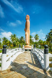 Sri Lanka. Hikkaduwa. The obelisk in memory of the Buddha died during the tsunami. Landscapes and Architecture of Sri Lanka Royalty Free Stock Photography