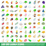 100 sri lanka icons set, isometric 3d style Stock Photo