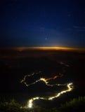 Sri Lanka. Illuminated walkway from the city of Ratnapura to the top of the mountain Adam's peak. Sri Lanka Stock Image