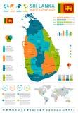 Sri Lanka - infographic map and flag - Detailed Vector Illustration Stock Image