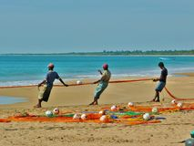 Sri lanka island 006. Three fishermen haul nylon colorful fishing net, with float line attached to white plastic floats, on the seafront in the kalkudah bay of Stock Photos