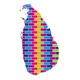 Sri Lanka-Karte mit multi farbigem Ziegelstein-Art-Hintergrund stock abbildung
