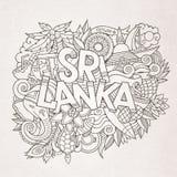 Sri Lanka kraju ręki doodles i literowanie Obrazy Royalty Free